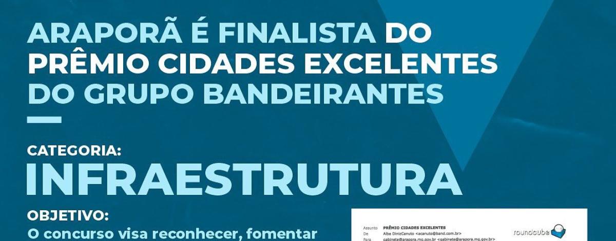 Imagem destaque notícia ARAPORÃ É FINALISTA DO PRÊMIO CIDADES EXCELENTES DO GRUPO BANDEIRANTES