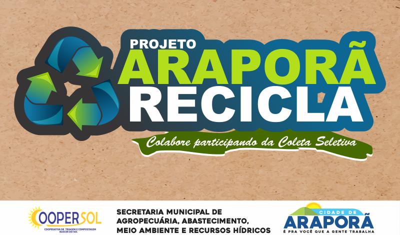 Imagem destaque notícia Prefeitura de Araporã intensifica coleta seletiva